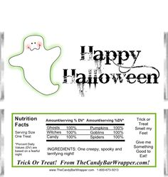 These Halloween Ghost Candy Wrappers can be customized both on the front and back. They fit over a standard size oz. We have a variety of styles and colors to choose from, so browse our website at your leisure. Halloween Moon, Halloween Ghosts, Halloween Candy, Happy Halloween, Halloween Ideas, Easter Printables, Party Printables, Hershey Milk Chocolate Bar, Hershey Bar