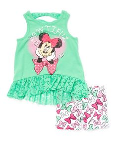 Another great find on #zulily! Green Minnie Mouse Ruffle Tank & Bow Shorts - Toddler #zulilyfinds