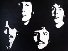 beatles clipart black and white Beatles Art, The Beatles, Arte Banksy, Shadow Photos, Black And White Canvas, 3d Laser, Silhouette Art, Stencil Art, Tampons