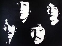 The Beatles: Black & White Pop Art Canvas Painting. $69.00, via Etsy.