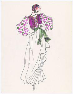croquis automne hiver 1976 opera ballet russe collection yves saint laurent