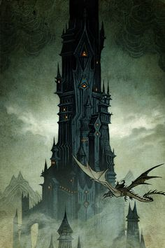 """""""Cover art by Johan Egerkrans for the 2019 Swedish editions of J. Tolkien's The Hobbit, The Lord of the Rings & The Silmarillion. Jrr Tolkien, Tolkien Books, Fantasy Places, Fantasy World, Dark Fantasy, Barad Dur, O Hobbit, The Two Towers, Fan Art"""