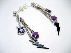 Purple Guitar Earrings