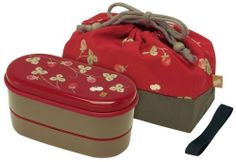 Japanese Red Blossom 2 Tiers Bento Lunch Box with Belt, Bag & Chopsticks by Daniel's House. $40.00