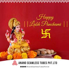 On this Labh Pancham, worship Goddess Laxmiji and start this New Year with the divine blessings for prosperity. Labh Pancham, Diwali Poster, I Am Happy, Blessings, Worship, Tube, Design, Im Happy