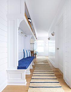 "Beach Cottage with Crisp and Fresh Coastal Interiors - ""Mudroom Runner"" (Nourison Paradise Garden Indigo Sisal Runner - Overstock - $98 each)"