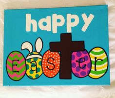 Happy Easter canvas quote by 4thSisterCanvas on Etsy