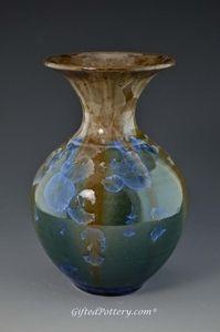 "Blue Green and Brown 7"" Handmade Crystalline Vase"