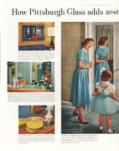 "1958 PITTSBURGH PLATE GLASS vintage magazine advertisement ""adds zest"" ~ How Pittsburgh Glass adds zest and beauty to everyday living ... Add excitement to your rooms ... Make small rooms look larger ... No more marred table tops ... Keep rooms ..."