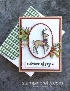 Learn how to create this simple Christmas card using Stampin' Up! Santa's Sleigh & Stampin' Blends - Mary Fish StampinUp