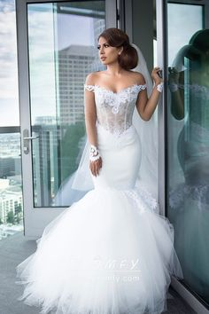 c82c6533335 Modern Illusion Off-the-shoulder Long Sleeve Lace and Tulle Trumpet Wedding  Gown