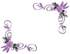 Printed Purple Corner Flowers Page Borders Design for  Notebook 2014 sadiakomal