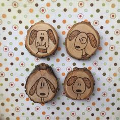 Set of four wood magnets dog magnets rare earth by MalamiStudio