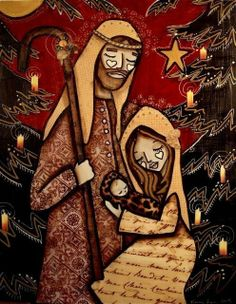 Red Nativity 8 x 10 Print, by mixed media artist Kelly Lish. $15.00, via Etsy.