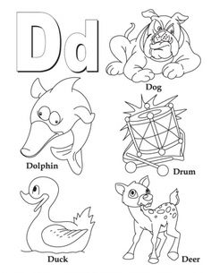 My A To Z Coloring Book Letter D Page