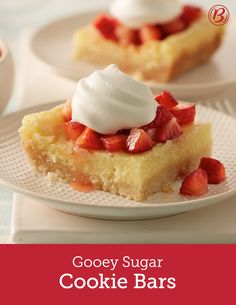 Reminiscent of classic gooey butter cakes, these bars are packed with plenty of butter, made easy with sugar cookie mix, and finished with whipped cream and juicy strawberries. If a make-ahead dessert is what you need, make this recipe the day before serving. After cooling, tightly cover with foil and store in refrigerator until serving!