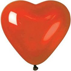 Pack of 50 bright red 10ins latex balloon in heart shape. Suitable for use with helium.