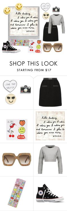 """""""Love they selfie emoji patches and pins"""" by fash-fanatica on Polyvore featuring Polaroid, Design Lab, Jason Wu, Eye Candy, Sugarboo Designs, Gucci, Norma Kamali, Local Heroes, Converse and Ruifier"""