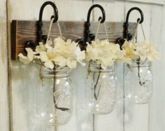 NEW...Set of 2 Hanging Mason Jar Candle by cottagehomedecor
