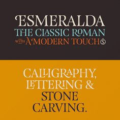 Esmeralda type: Delicate yet solid curves, serifs and endings give each composition a fine, elegant and exquisite feeling, along with a firm and sturdy look