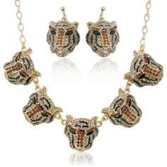 "Ever Faith H-Quality 5 Tiger Necklace Earring Set Brown Austrian Crystal Animal Ever Faith. $34.95. Earring Size: 3.7cm(1.46"") L by 2.6cm(1.02"") W. Pendant Size: 14.3cm(5.63"") L by 2.8cm(1.10"") W. Chain Size: 43cm(16.93"")-48cm(18.90"")inside circumference length"