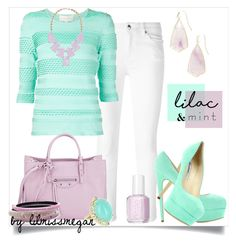 """""""#281 - Lilac & Mint"""" by lilmissmegan ❤ liked on Polyvore featuring McQ by Alexander McQueen, Brian Atwood, Christian V Siriano, Balenciaga, Alexis Bittar, Essie, Kendra Scott and Vintage"""