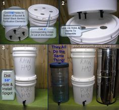 Homemade Water Filter & Water Purifier / Berkey Water Filter.  This is Really cool and easy to make.  This is the easiest and cheapest way to have pure water during an emergency.  The buckets are cheap or free and you can get the purification elements and the spigot on this website for fairly cheap.  They say it is pure water for less than .02 per gallon.  I like it a lot!