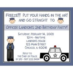 20 Personalized Birthday Invitations - POLICE PARTY