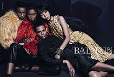 Balmain Fall/Winter 2014-215 campaign featuring Cara Delevingne, Jourdan Dunn, Issa Lish, Binx Walton, Ysaunny Brito and Kayla Scott. Photographed by Mario Sorrenti.