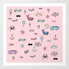 Pink Beach Pattern Gallery quality Giclée print on natural white, matte, ultra smooth, cotton rag, acid and lignin free archival paper using Epson archival inks. Custom trimmed with border for framing. Pink Beach, Epson, Giclee Print, I Shop, Print Patterns, Hello Kitty, Smooth, Gallery, Natural