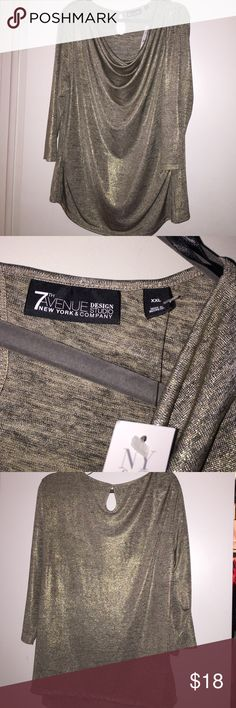 7th Avenue NY&CO- Top shimmery silver-XXL Host Pick  Brand New. Never Worn. Shimmery Silver. XXL. 3/4 Sleeve New York & Company Tops Blouses