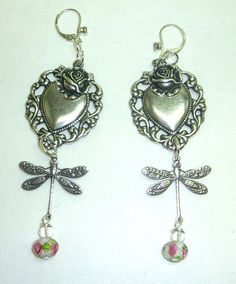 new earrings with silverware hearts and rosebud glass beads by bsueboutiques, via Flickr