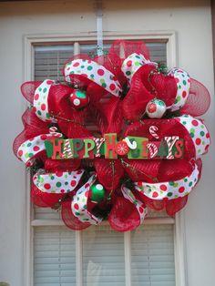 Items similar to Happy Holidays/Merry Christmas Deco Mesh Wreath on Etsy Wreath Crafts, Diy Wreath, Christmas Projects, Holiday Crafts, Holiday Fun, Holiday Decor, Wreath Ideas, Thanksgiving Holiday, Holiday Ideas