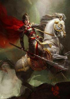 f Paladin Plate Armor Helm Glaive Horseback Asian Faction female Yáng family med Fantasy Character Design, Character Inspiration, Character Art, Fantasy Inspiration, Character Ideas, Fantasy Warrior, Fantasy Art, Warrior Angel, Dark Fantasy