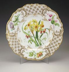 Antique English Flower Decorated Gilded Cabinet Plate - Early!