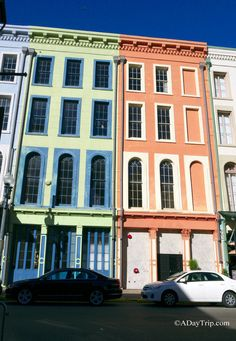 Brightly colored facades of old buildings in New Orleans, Louisiana