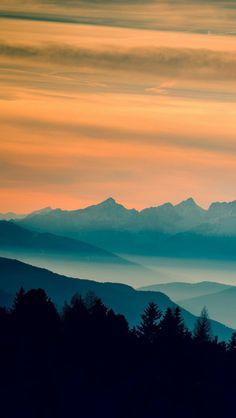 Blue Mountains Orange Clouds Sunset Landscape #iPhone #Wallpaper