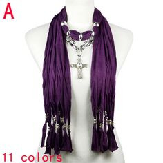 dark purple CCB beads linked chain with cross pendant jewelry scarves NL-2056A #Welldone #Scarf