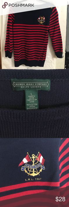 Ralph Lauren super cute sweater Navy blue & red with gold accents Ralph Lauren Sweaters