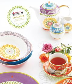 Maxwell & Williams Bone China - Vivacious Collection - Available in 5 mix-&-match colors; avail in place set & place set. Kitchenware, Tableware, Tea Service, Dinner Sets, Bone China, Dinnerware, Tea Pots, Kitchen Decor, Decorative Plates