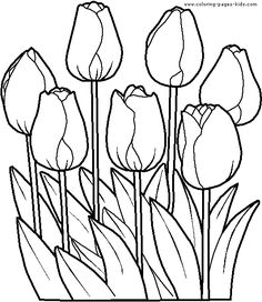 Tulips color page. Nature & Food coloring pages. Coloring pages for kids. Thousands of free printable coloring pages for kids! Food Coloring Pages, Spring Coloring Pages, Flower Coloring Pages, Coloring Pages For Kids, Coloring Books, Free Coloring, Stained Glass Patterns, Mosaic Patterns, Embroidery Patterns