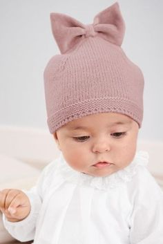 Buy White/Pink Blouse And Cord Trousers Set from the Next UK online shop Shop for Pink Bow Hat at Next USA. Crochet Baby Hats Free Pattern, Baby Hats Knitting, Knitting For Kids, Baby Knitting Patterns, Crochet For Kids, Baby Blanket Crochet, Knitted Hats, Crochet Hats, Cord Trousers