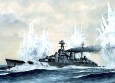 HMS Hood under fire from Bismarck Hms Prince Of Wales, Hms Ark Royal, Hms Hood, Capital Ship, British Armed Forces, Ship Paintings, Naval History, Navy Ships, Aviation Art