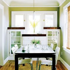 small dining room built in cabinets glass fronts modern table white chairs windows base board trim interior design home furnishings Small Dining Room Furniture, Small Living Dining, Tiny Dining Rooms, Dining Room Design, Dining Area, Living Room, Dining Table, Sideboard Furniture, Space Furniture