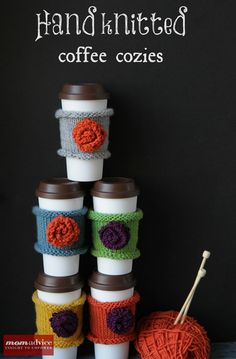 I already knit coffee mug cozies, but i love the stitch and colors used here for to-go cups Easy & Fast Knitted Coffee Cozies {featured on MomAdvice.com} **idea: make one, put it on a coffee shop cup & stick a gift card in the cup**