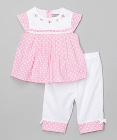 Loving this Pink Hand-Embroidered Top & Pants - Infant & Toddler on #zulily! #zulilyfinds