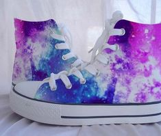 Custom Converse Galaxy Converse Sneakers Hand-Painted On Converse Shoes Canvas shoes from Kingmaxpaints on Etsy. Saved to Things I want as gifts. Galaxy Converse, Converse All Star, Style Converse, Cool Converse, Custom Converse, Converse Sneakers, High Top Sneakers, Galaxy Shoes, Converse High