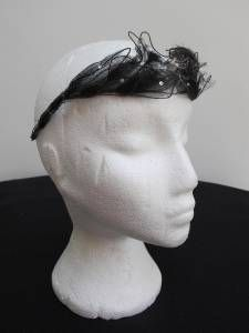 "Original Vintage 1920'S Flappers Wired Black NET ""Leaf"" Headband Headdress | eBay"