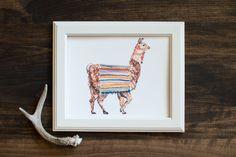 Llama print- fine art print - animal illustration - Peru - hand painted - Peruvian textiles $20