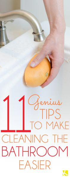 11 Genius Tips to Make Cleaning the Bathroom Easier - Cleaning Hacks Bathroom Cleaning Hacks, Household Cleaning Tips, House Cleaning Tips, Natural Cleaning Products, Spring Cleaning, Cleaning Supplies, Cleaning Checklist, Household Cleaners, Clean Dishwasher